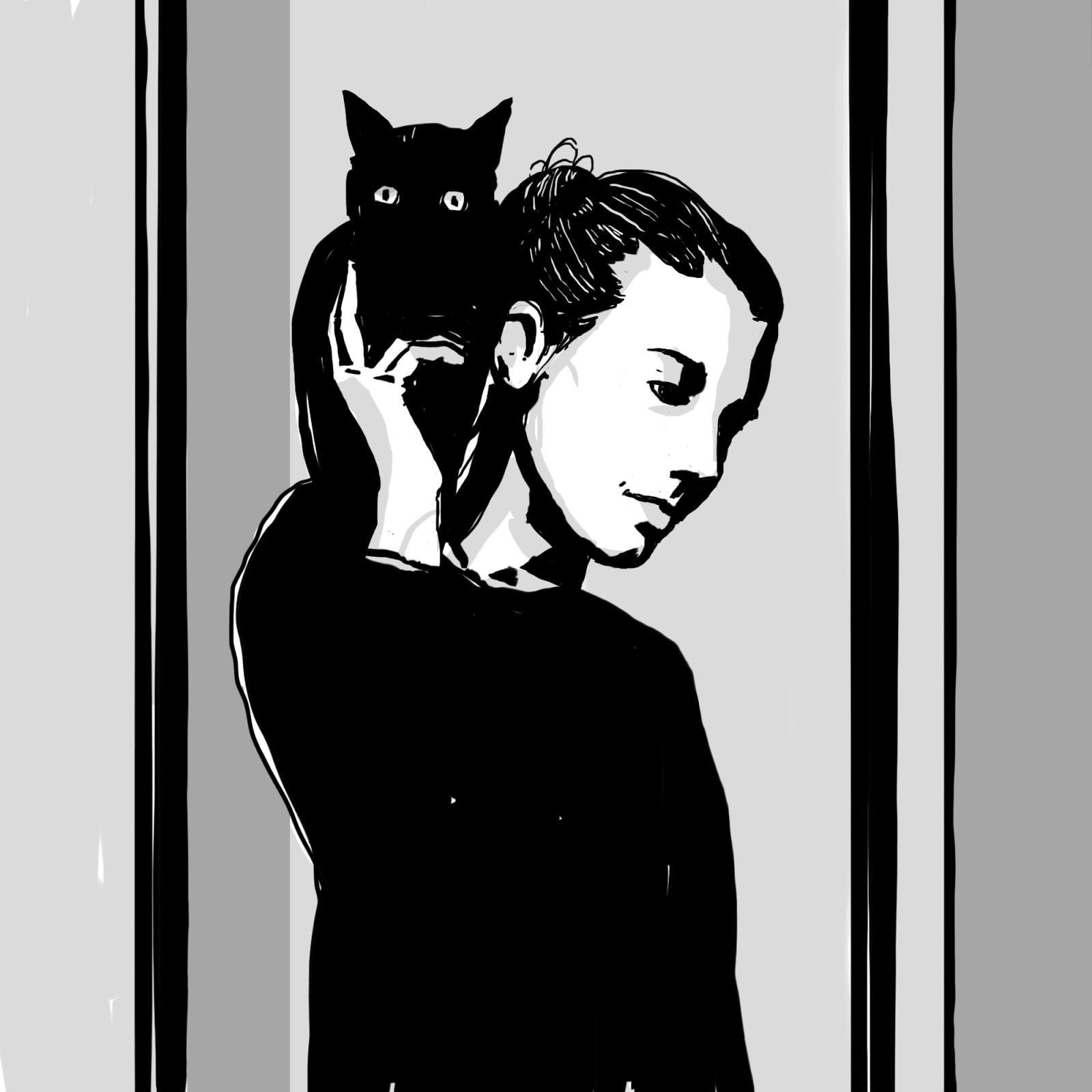 The Cat Lady Digital Drawing 1500x1500px Mujer Gato f8f86f6eb02