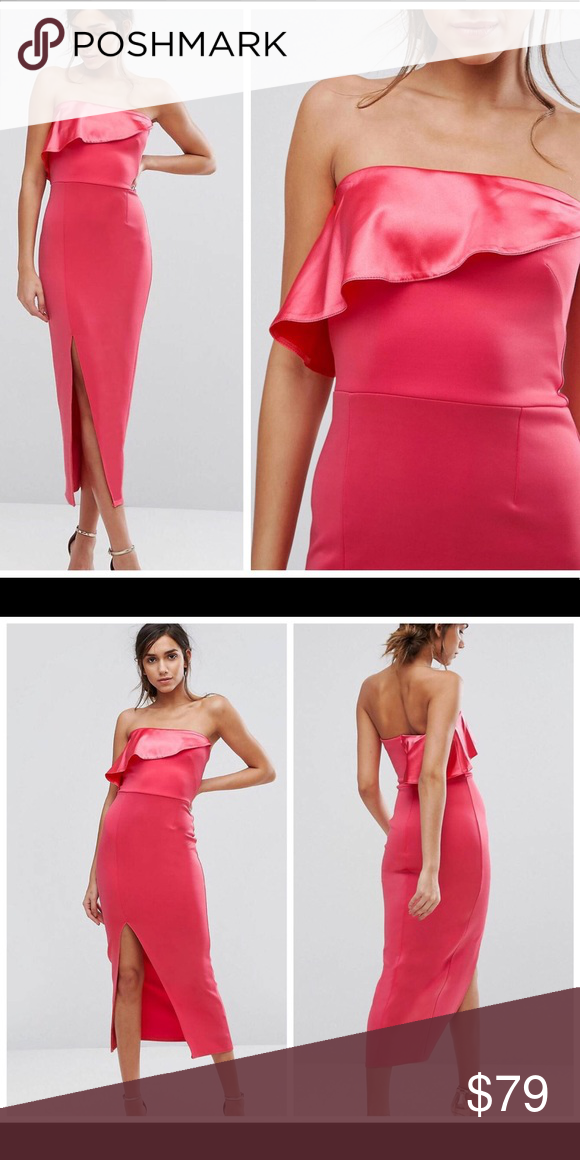 26818fc5ce57 NWT ASOS strapless pink coral maxi dress floral NWT. Retails for $110.  Silver Bloom but Exclusive to ASOS. Color looks the same as on the model  (my camera ...