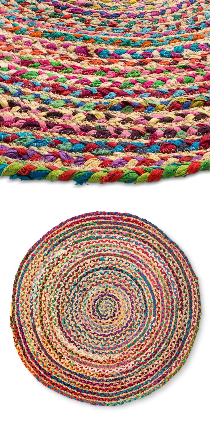 Dorm Room Rugs: Multicolor Stripe Braided Round Accent Rug