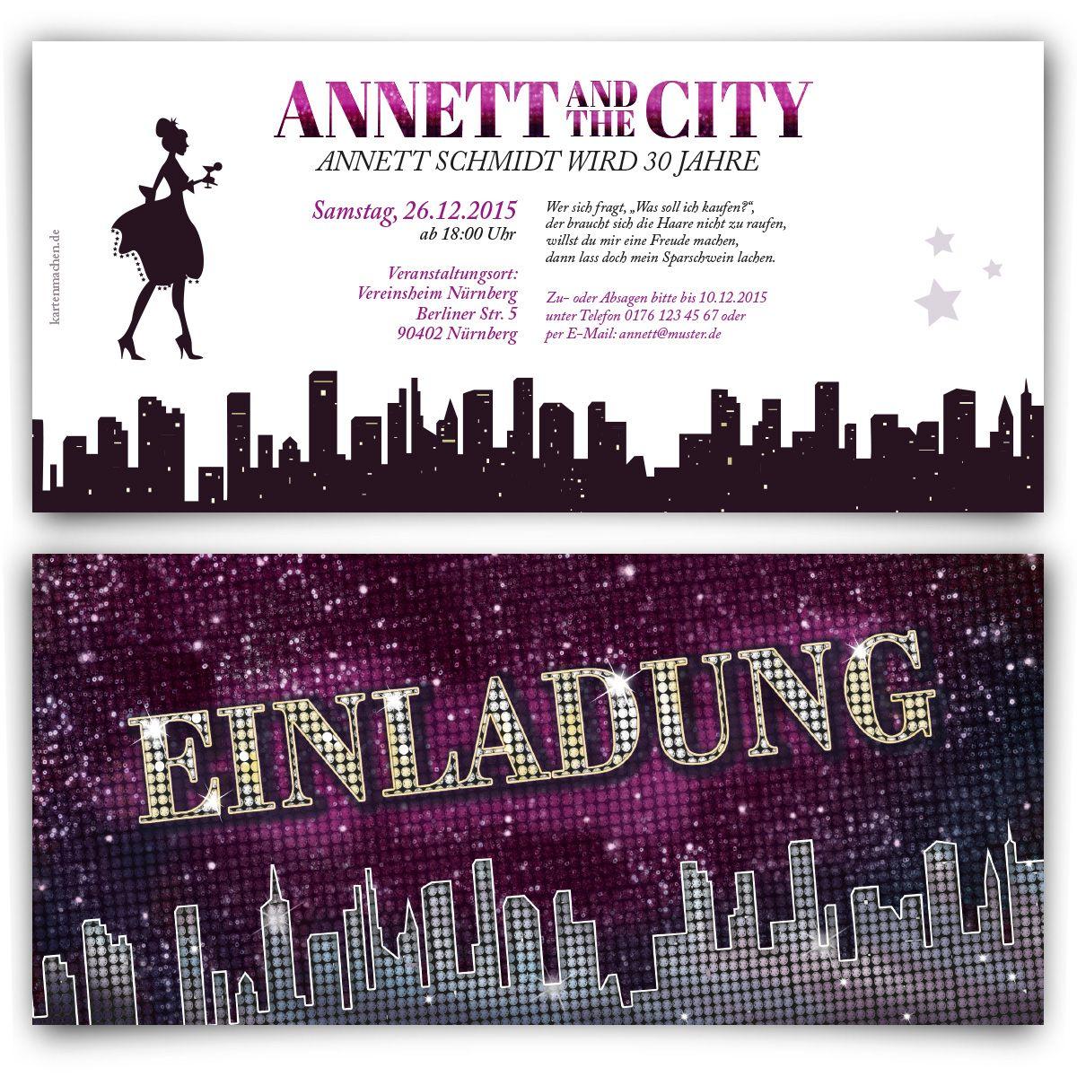 Einladungskarten   Ladies And The City #einladung #einladungskarten #party  #geburtstag #girls