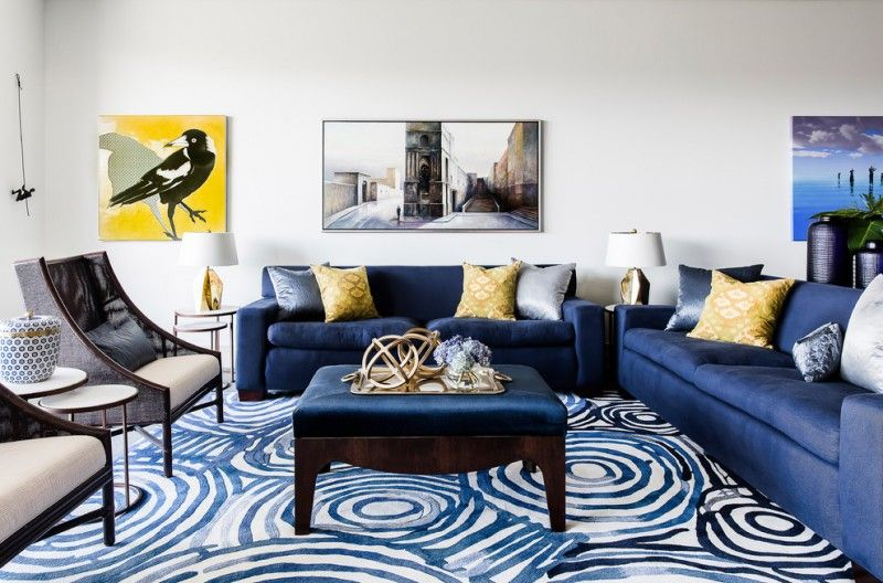 Blue Sofa Blue Pattern Area Rug Brown Armchairs With Cream Cushions Gold Accessories Yellow Decor Living Room Blue Furniture Living Room Blue Living Room Decor