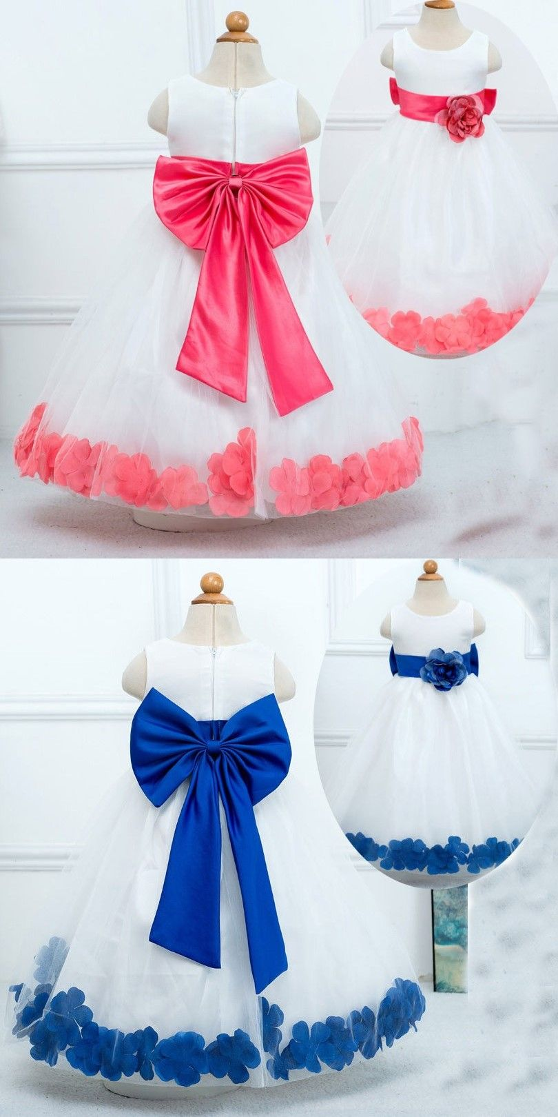 e70700a1cb Sweet Scoop Princess Sleeveless Tulle White Flower Girl Dress Wedding Party  with Blue Flower Bowknot