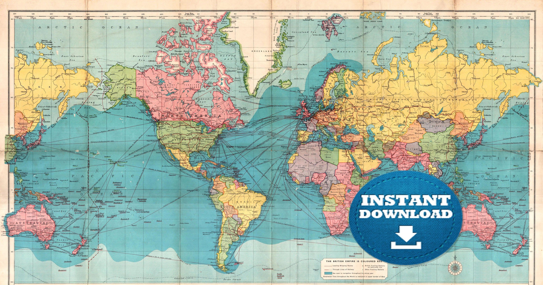Digital Old World Map Printable Download Vintage World Map Printable Map Large World Map High Resolution World Map Poster Usa Australia World Map Printable Old World Maps World Map