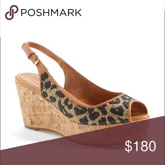 "50669e04353 TORY BURCH Rosalind Wedge Sandal Tory Burch Rosalind Wedge Sandals Linen  Leopard 2.9"" wedge heel"