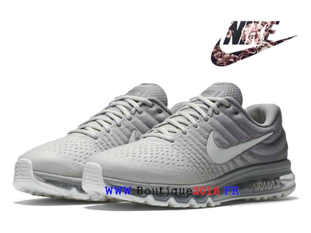 reputable site 34a3b 4ea0b Nike Air Max 2017 Boutique Chaussures De Running Pas Cher Homme Blanc Gris  849559-