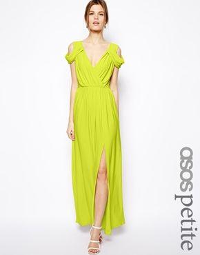 Image 1 ofASOS PETITE Wrap Front Maxi Dress