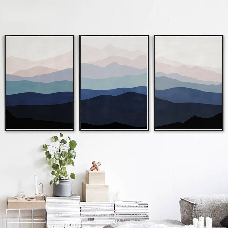 Abstract landscape three prints blue pink wall art