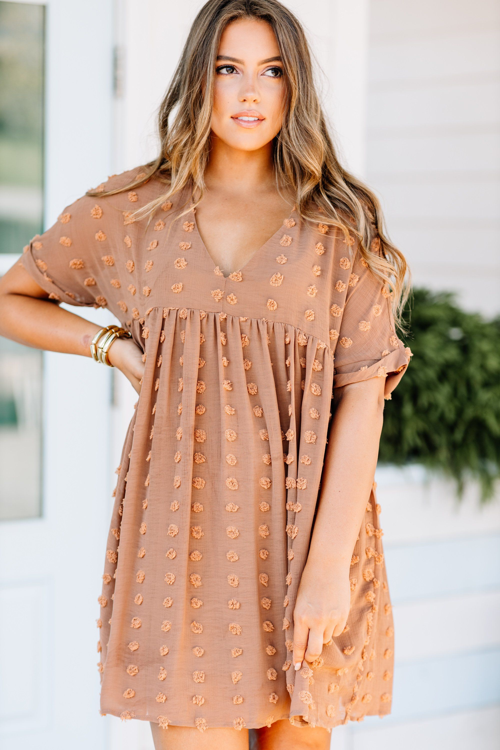 Remember The Days Butterscotch Brown Babydoll Dress In 2020 Long Sleeve Dresses Fall Short Fall Dresses Stylish Fall Outfits