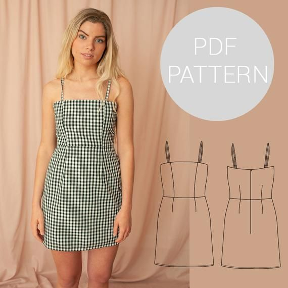 Womens strappy summer dress with adjustable straps and lining | Lara dress | PDF printable sewing pattern | Instant Download