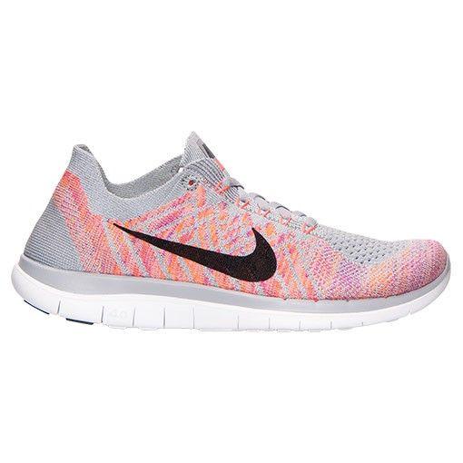 online retailer 4c69a 9f649 Nike Free 4.0 Flyknit Sneakers Pour Femme Loup Gris Rose Atomique Fuchsia  éclair 717076