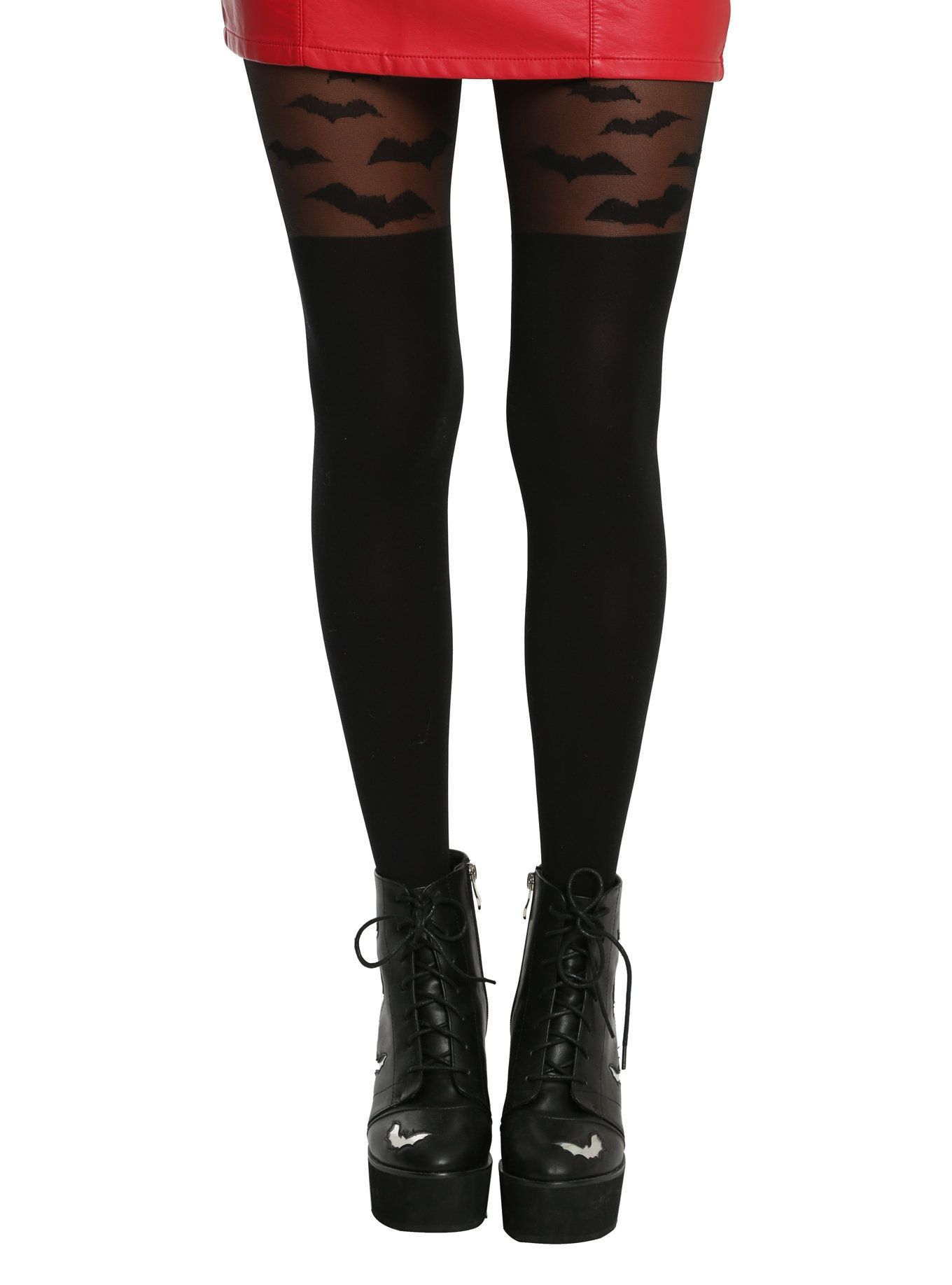 206eea786 These sheer black tights have flying bats coming from the opaque faux thigh  highs. We know they re Halloween themed