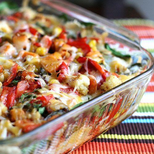 Stacked Roasted Vegetable Enchiladas.