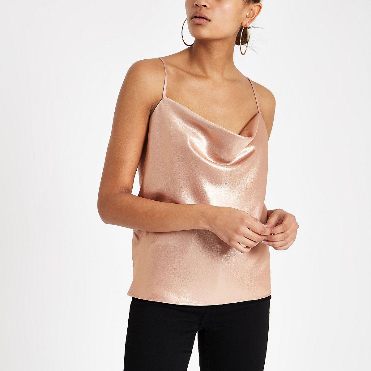 2d5ea0de04a8 Pink metallic cowl neck cami top. Pink metallic cowl neck cami top  Sleeveless Tops ...