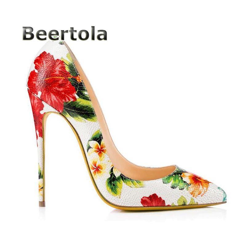 967ba4c295f3 2018 Women Designer Shoes Flower Heels Fashion Shoes Women Floral Prints  Shoes Woman High Heels Pumps