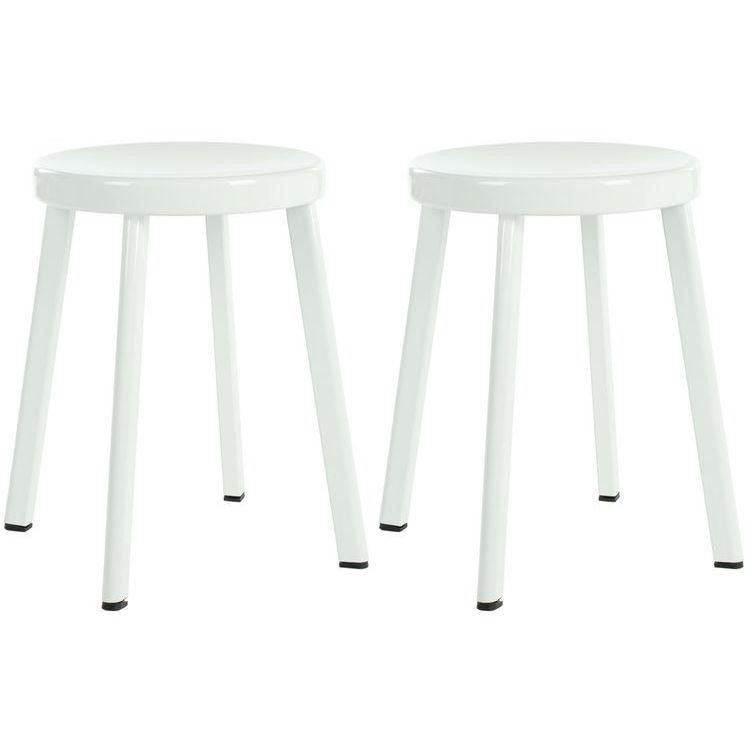 White Indus Stools Set Of 2