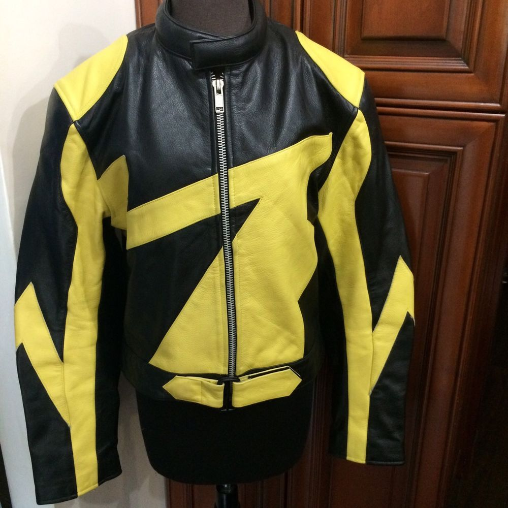 Pierce Arrow By Aflc Vtg Black Yellow Motorcycle Racing Jacket Sz L Motorcycle Racing Jacket Racing Jacket Vintage Leather Jacket [ 1000 x 1000 Pixel ]