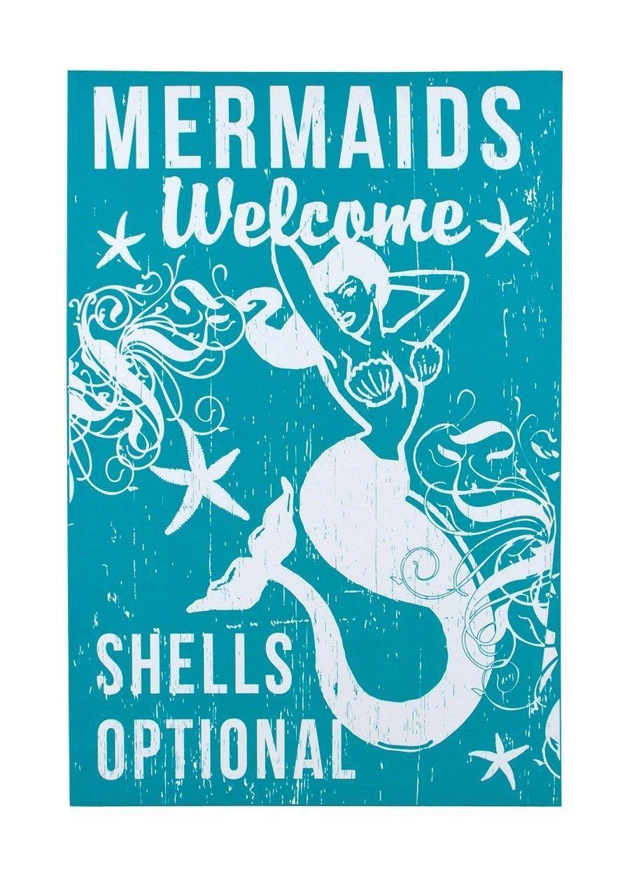 """Nautical Canvas Sign Wall Art Vintage Home Decor """" Mermaid Shells Optional """" picclick.com"""
