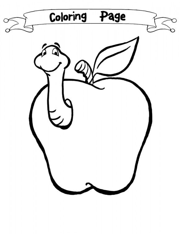 Apples With Worms Coloring Pages Apple Coloring Pages Coloring Pages Fruit Coloring Pages