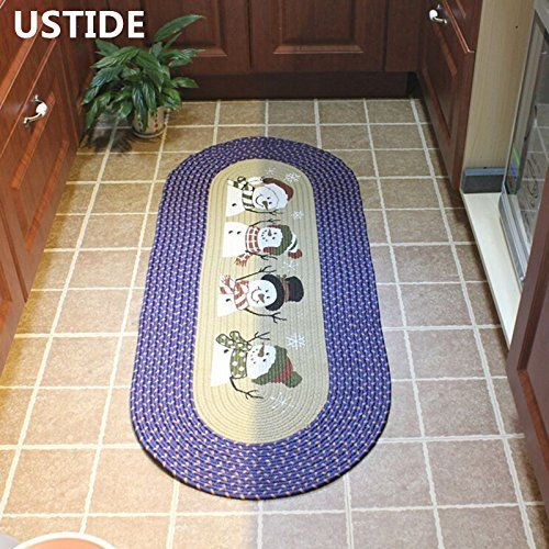 Ustide Snowerman Christmas Accent Rug Hand Braided Rugs Oval Carpet Floor Runner For Kitchen Laundry Check This Awesome Product By Going To The Link At