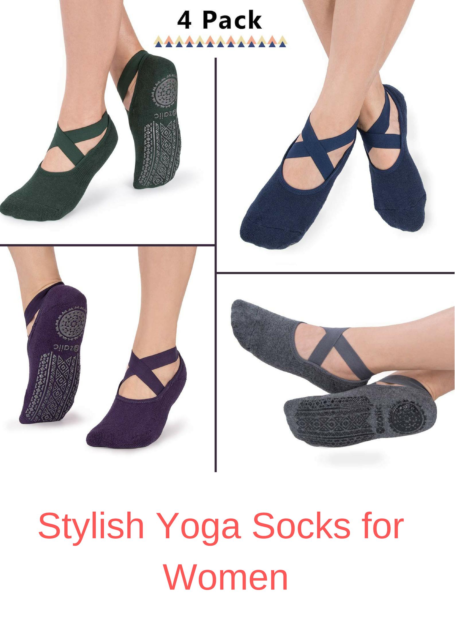Pure... Ideal Pilates Ozaiic Yoga Socks for Women Non-Slip Grips /& Straps