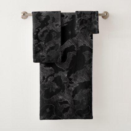 Modern Camo Black And Dark Grey Camouflage Bath Towel Set