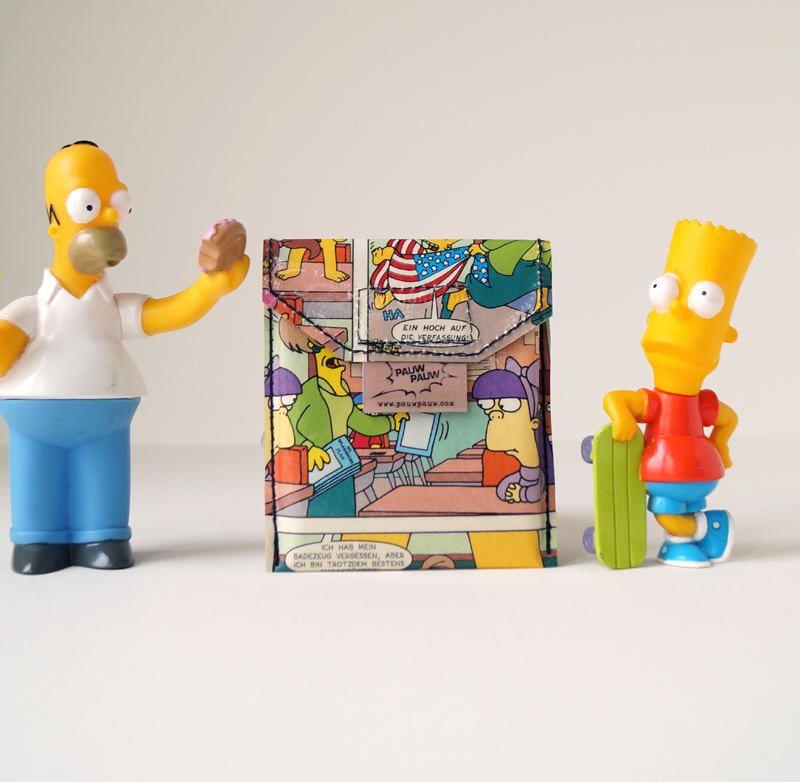 Simpsons Karten Tasche Upcycling Unikat Pauwpauw Karten