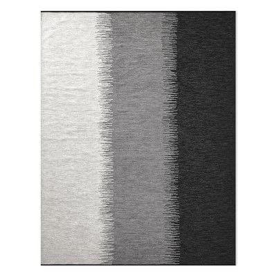 Perennials Ikat Stripe Indoor/Outdoor Rug, 8x10', Black