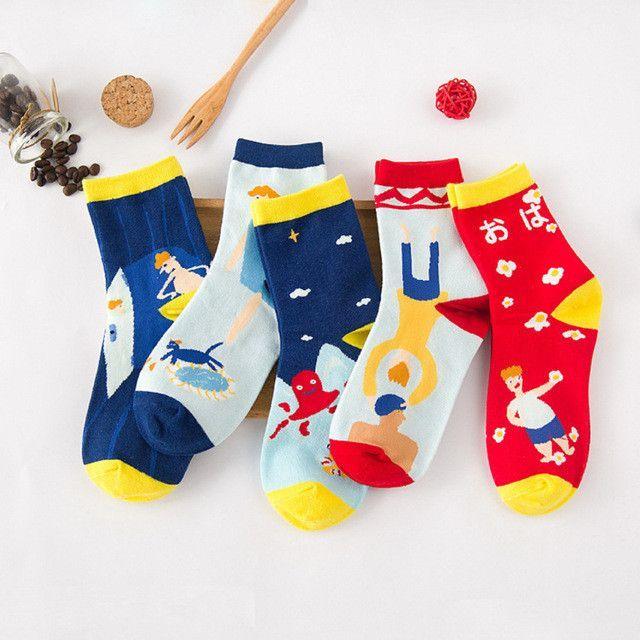 women autumn winter fashion creative cotton socks for woman designer style stripes short socks 5pairs/lot