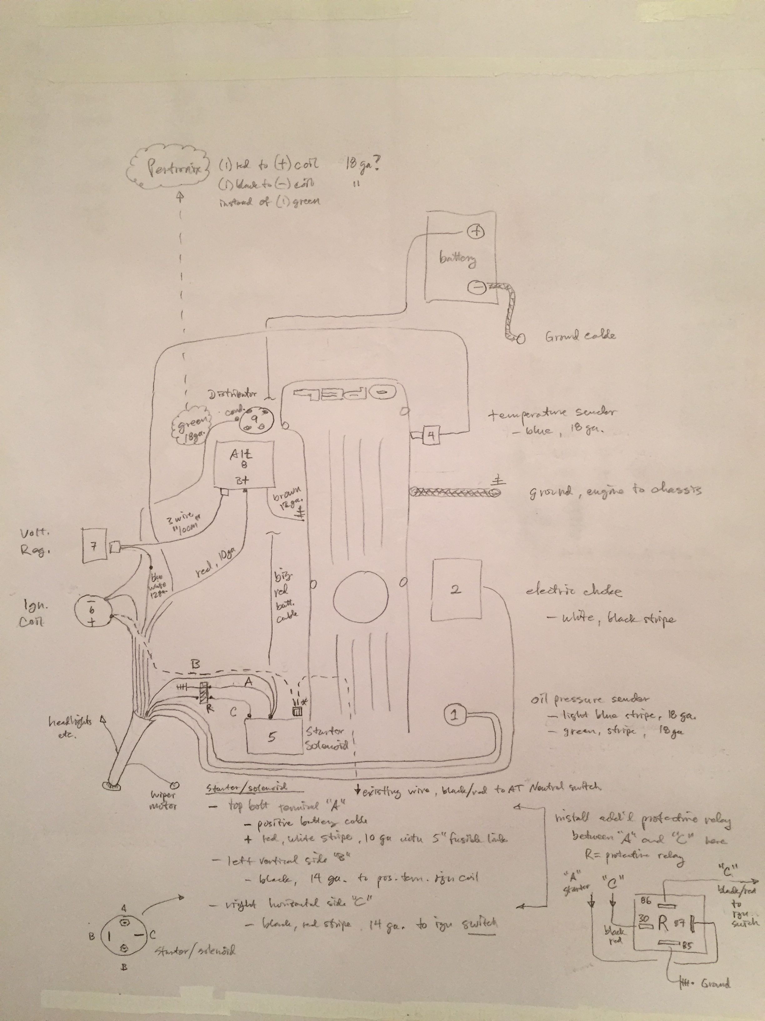 Wiring sketch for the engine bay. We have to start at the loom in the