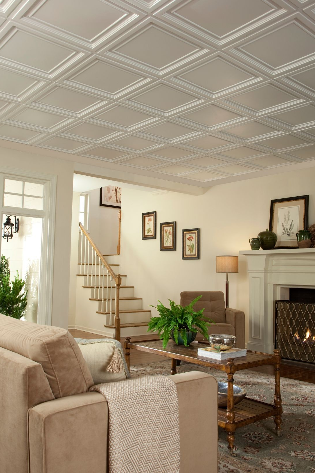 Get A Classic Coffered Look At A Fraction Of The Cost Easy Elegance Coffered Ceiling Panels Are Made Coffered Ceiling Basement Ceiling Plastic Ceiling Panels