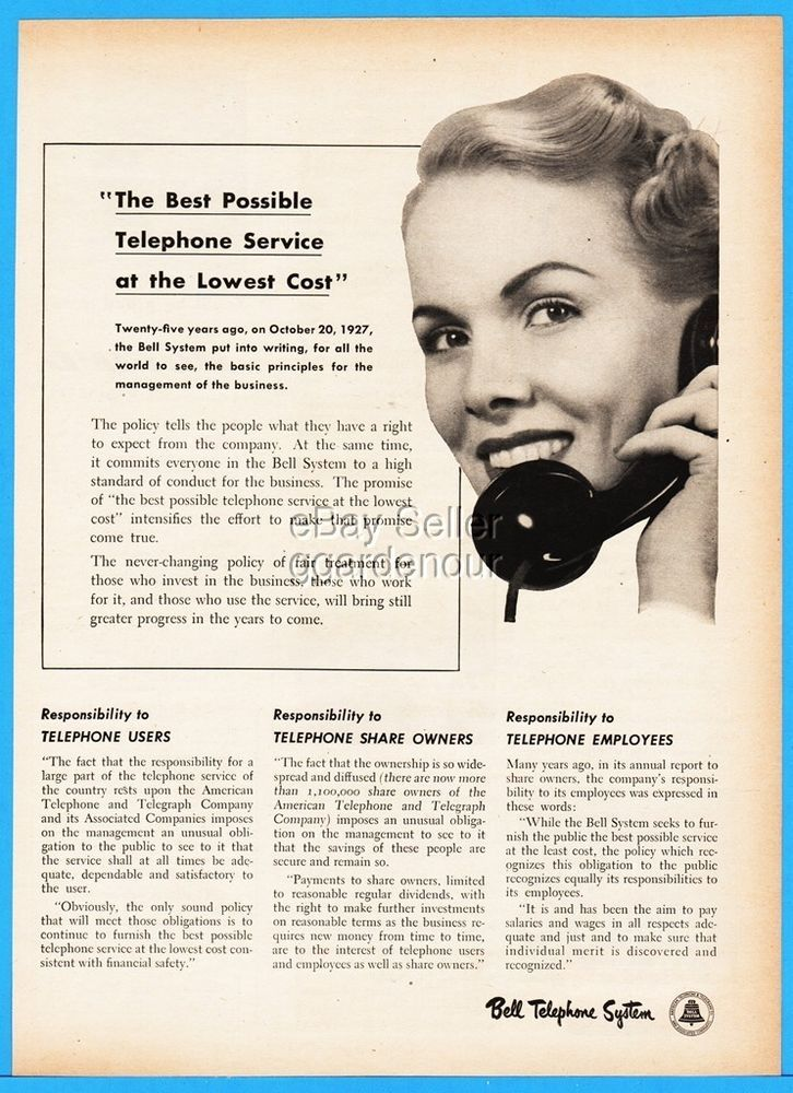1952 Bell Telephone 25th Anniversary Company Mission Statement Print Ad Ebay Company Mission Statement Company Mission Print Ads
