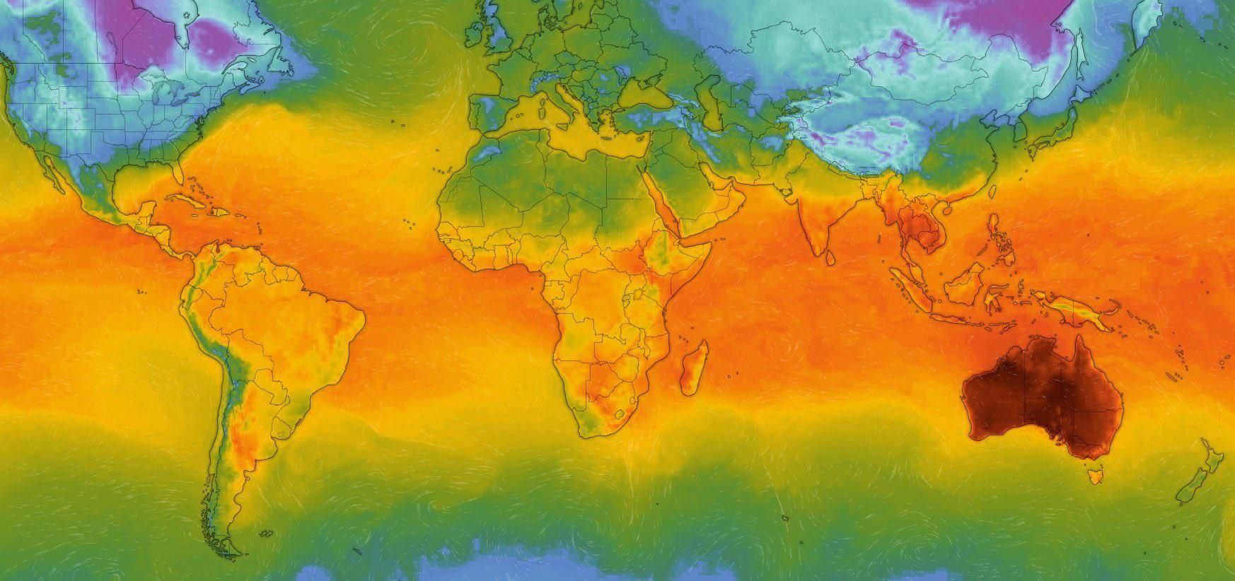 Today's global temperature map. Australia is on fire