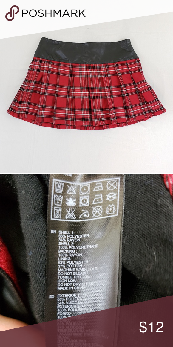 10e7d40baa Forever 21 Plaid Skirt L Forever 21 Plaid Skirt. Size L. Faux leather waist