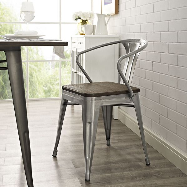 promenade metal wood seat dining chair overstock com shopping
