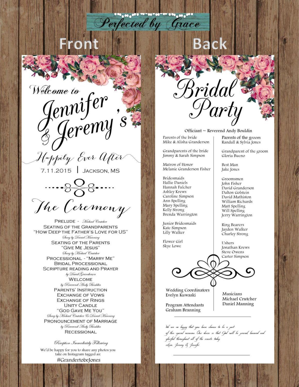 DIY Printable Elegant Wedding Program Font Color Of Your Choice Roses Theme Ceremony