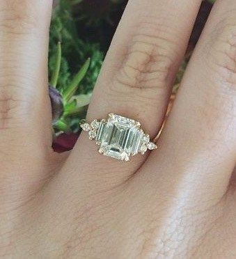 Photo of emerald cut engagement ring custom art deco