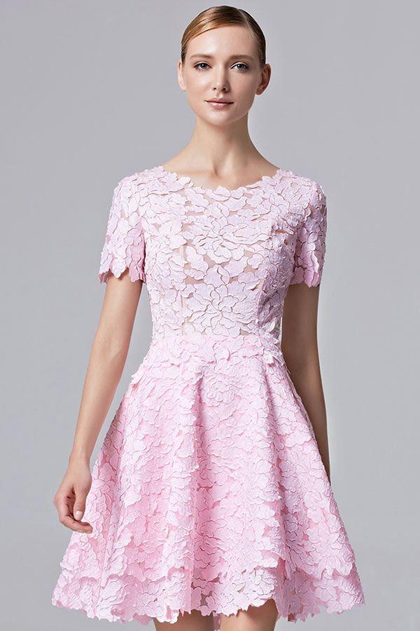 9849e31c76a Robe de soirée rose dentelle délicate avec petite manche