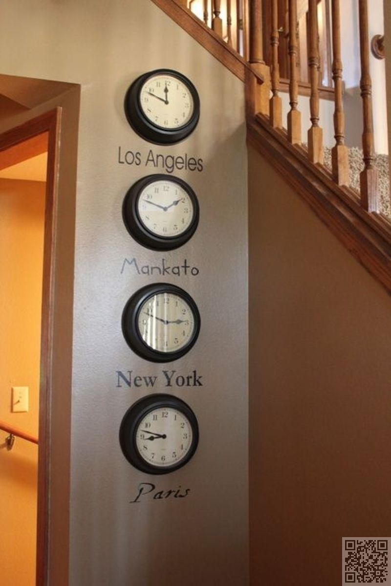 Interior Decor Ideas World Times On A Wall Buy Four Of The Least Expensive Clocks From Walmart And Choose F Frugal Decor Travel Themed Bedroom Travel Room