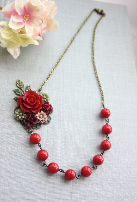 Wedding Collage Floral Necklace Maroon Red Rose Burgundy Green Brown Patina Leaf Br Polymer Clay Flower Jewelry Jewelry Inspiration Polymer Clay Jewelry Diy
