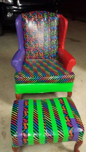 Superbe Duct Tape Repurpose On Wingback Chair!