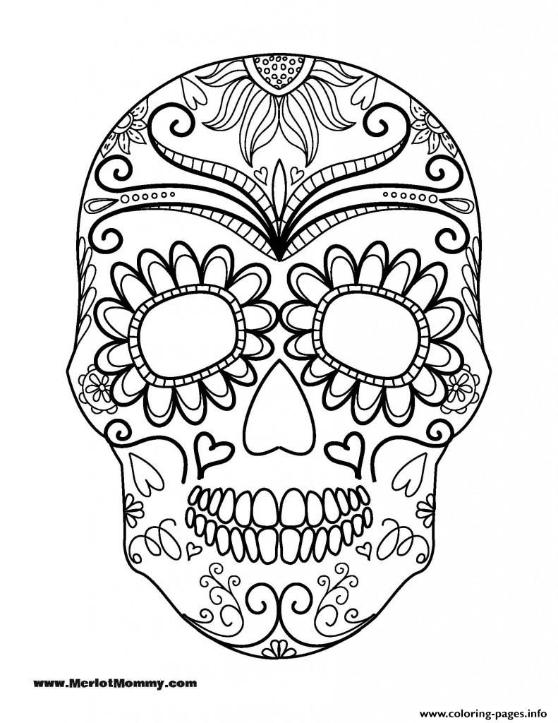 Print Halloween Coloring Page Sugar Skull coloring pages ...