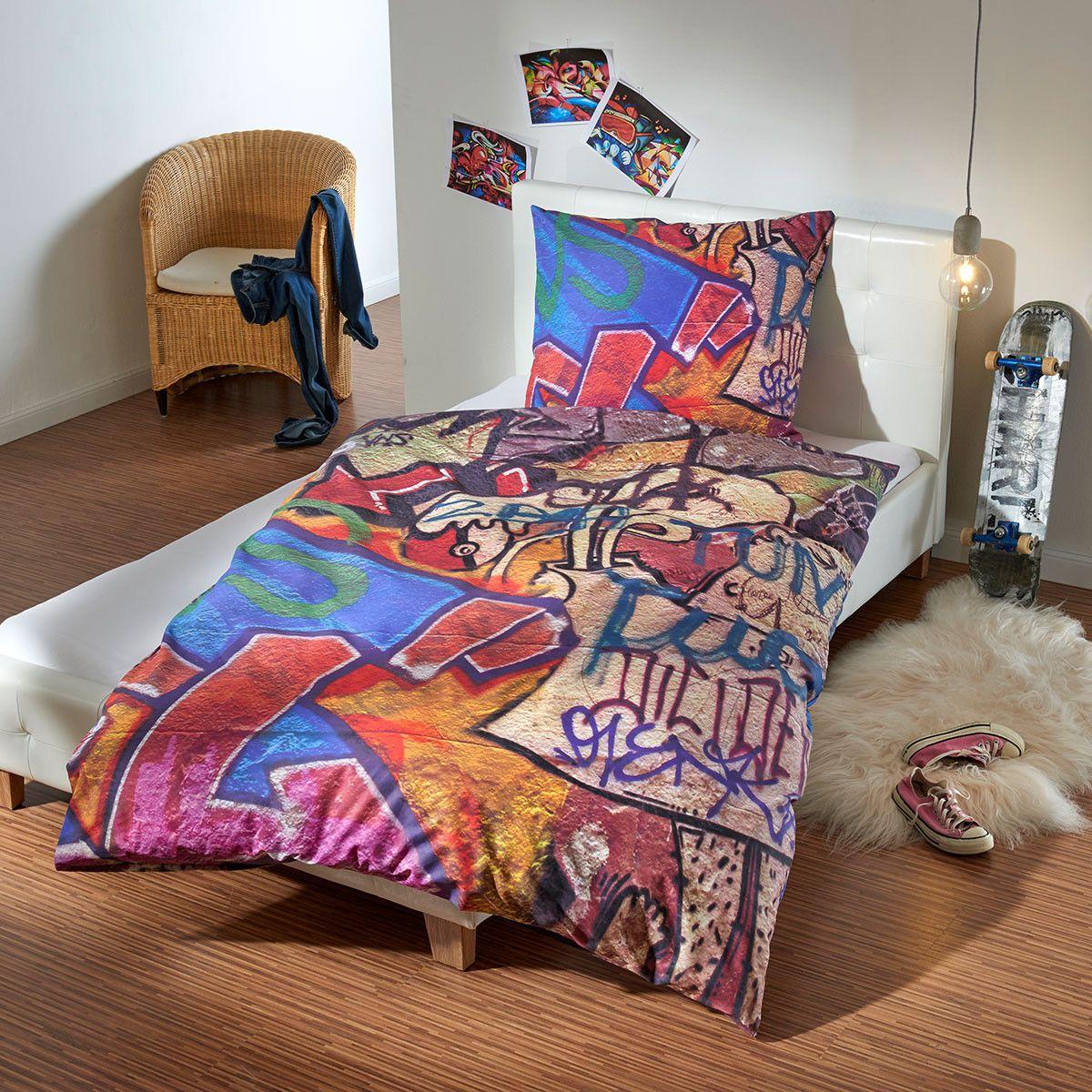 traumschlaf renforc bettw sche graffiti wall baumwollbettw sche moderne muster und graffiti. Black Bedroom Furniture Sets. Home Design Ideas