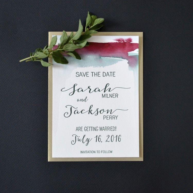 louelle design studio rochester new york watercolor save the date - Wedding Invitations Rochester Ny