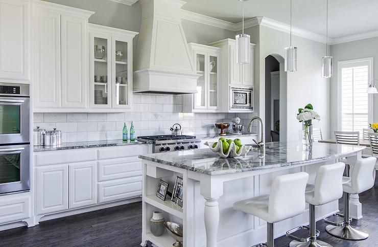 white kitchen with grey granite grey granite Countertops | - kitchens - white cabinets