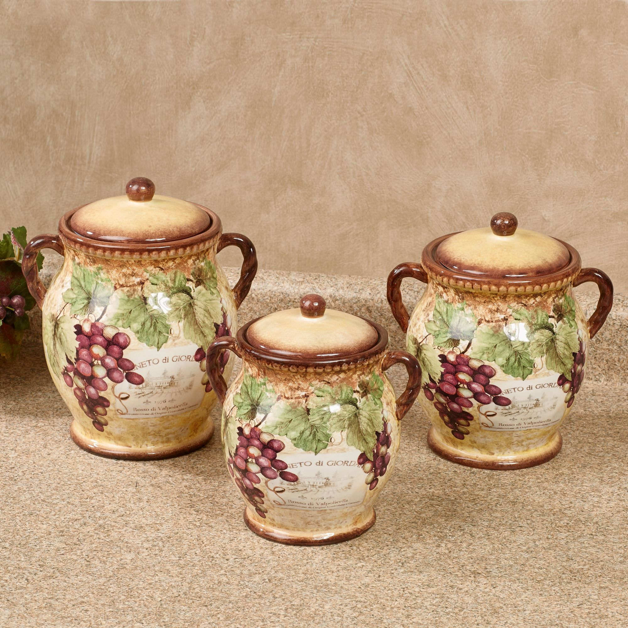 Gilded wine grape themed kitchen canister set with images