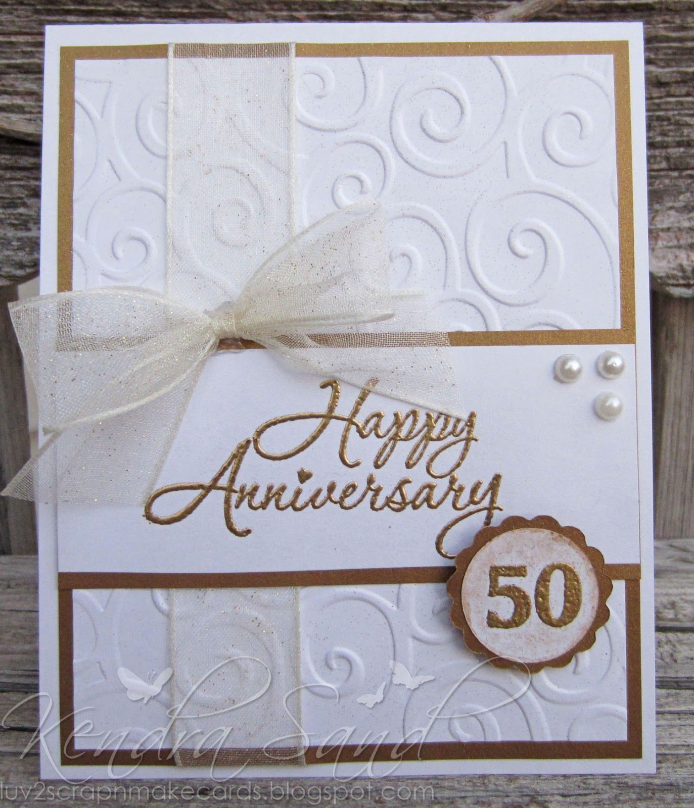 Inspired by stamping 50 from the set fancy alphabet for Handmade anniversary gift ideas