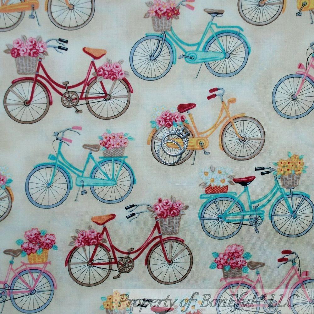 Boneful fabric fq cotton quilt cream pink blue yellow s beach bike