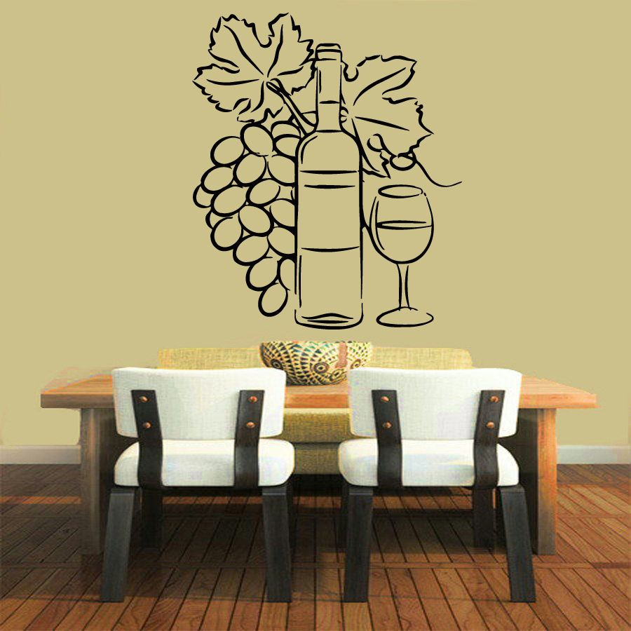 Wall Decals Wine Vinyl Sticker Grapes Decal Cafe Art Design Kitchen ...