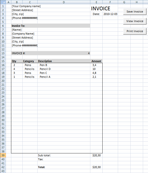 How To Make A Invoice Prepossessing Excel Vba Create A Print Button  Excel  Pinterest  Create Button .