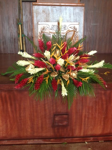 Floral Arrangement With Ginger Lilies Heliconias And Anthuriums Ideal For The Front Of A Podium Tropical Floral Flower Arrangements Floral Arrangements